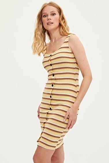 DeFacto Düğmeli Çizgili Elbise Sarı